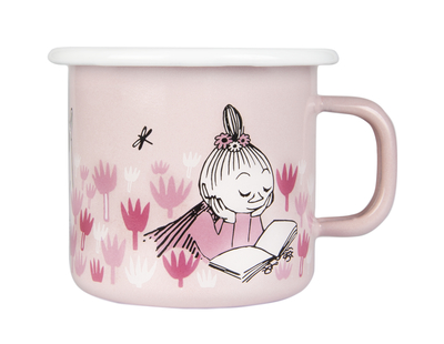 Muurla Moomin enamel mug 2,5dl In the Garden, light pink