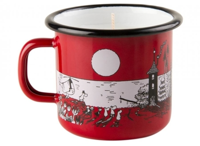 Muurla Moomin enamel mug 2,5dl with candle, Night in Moominvalley, red