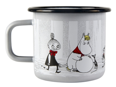 Muurla Moomin enamel mug 3,7dl Winter Trip, light