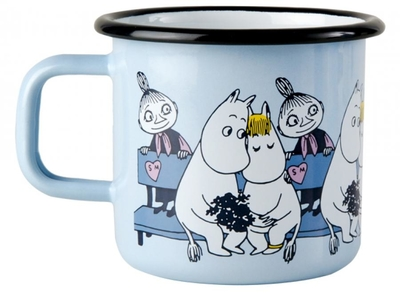 Muurla Moomin enamel mug Friends, blue, 3,7dl