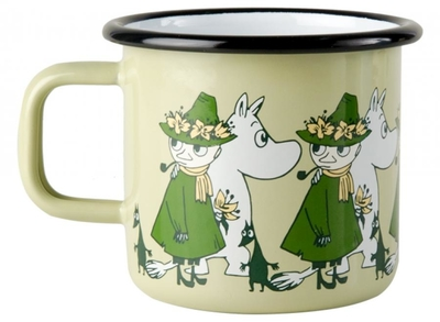 Muurla Moomin enamel mug Friends, green, 3,7 dl