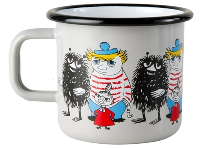 Muurla Moomin enamel mug Friends, grey, 3,7dl