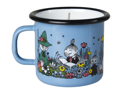Muurla Moomin enamel mug/ candle, Moment Together, 2,5dl, light blue