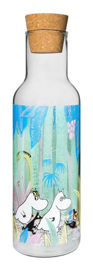 Muurla Moomin glass bottle 1L, Moomins in a Jungle