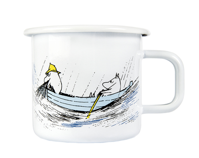 Muurla Originals enamel mug, Gone Fishing, white