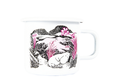 Muurla Originals enamel mug, Nap at the Meadow, white