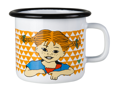 Muurla Pippi Longstocking enamel mug 2,5dl, Here is Pippi