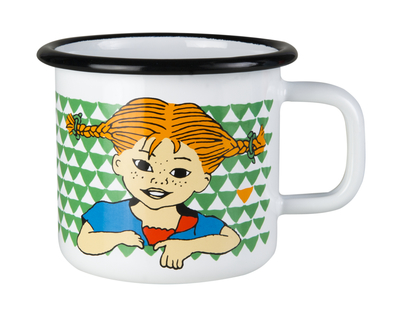 Muurla Pippi Longstocking enamel mug 3,7dl, Here is Pippi
