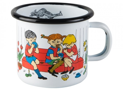 Muurla Pippi Longstocking enamel mug Coffee time 2.5dl, white