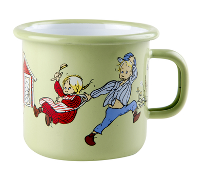 Muurla enamel mug 2.5dl, Emil and Ida, green