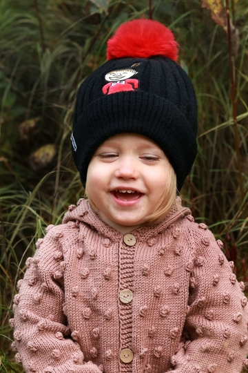 Nordicbuddies Little My Laugh children's beanie with a bobble, black