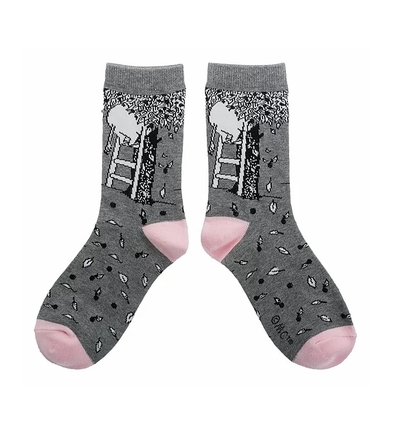 Nordicbuddies Moomin apple tree women's socks, grey