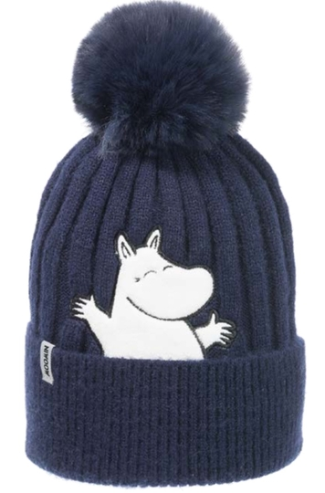 Nordicbuddies Moomintroll Happy children's winter beanie, dark blue