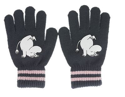 Nordicbuddies Moomintroll Somersault children's gloves, dark grey