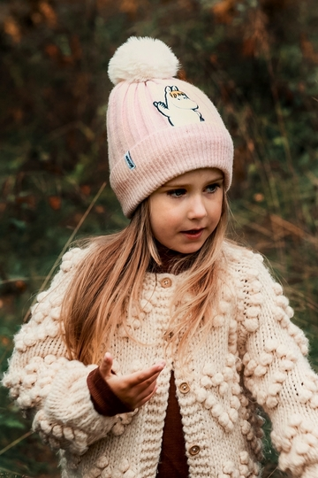 Nordicbuddies Snorkmaiden Idea children's beanie with a bobble, light pink