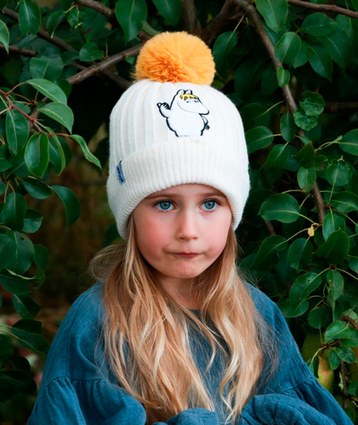 Nordicbuddies Snorkmaiden Idea children's beanie with a bobble, white