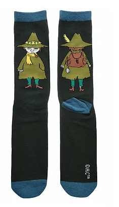 Nordicbuddies Snufkin on a Trip men's socks, black/petrol