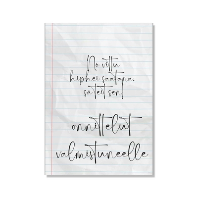 One page of the notebook, greeting card
