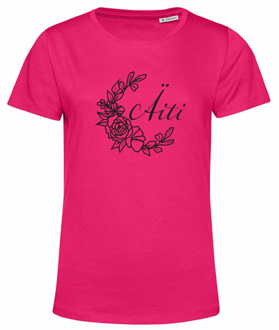 Organic cotton T-shirt: Flower mom, pink