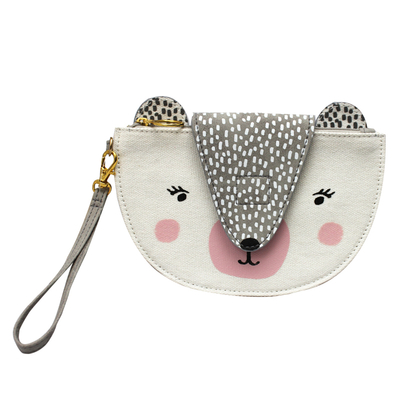 Over the Moon Bear purse with a wrist strap