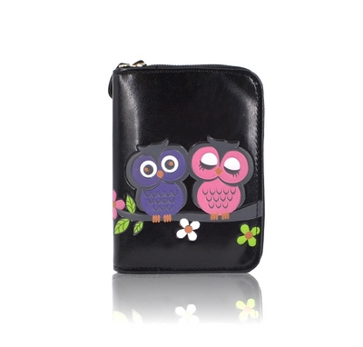 Owl Family small purse, black