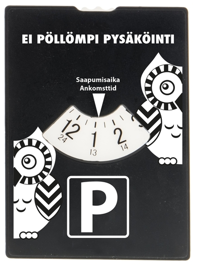 "Parking disc ""Ei pöllömpi pysäköinti(Not bad parking)"", black"