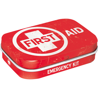 Peppermint tin box First Aid, red