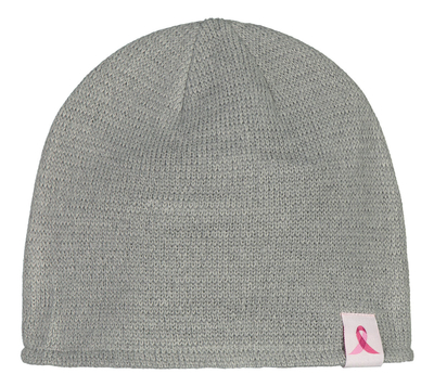 Pink Ribbon reflective beanie, grey