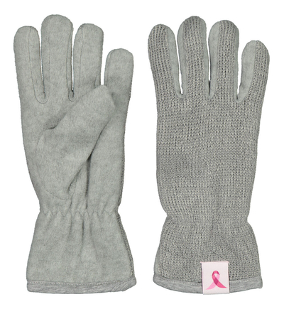 Pink Ribbon reflective gloves grey S