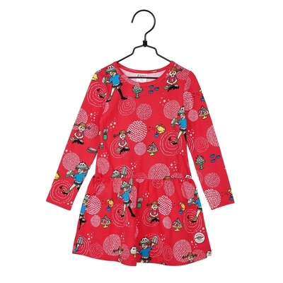 Pippi Longstocking Party children's dress, red