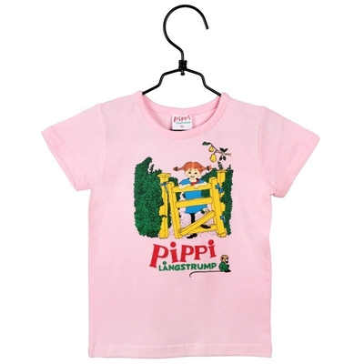 Pippi Longstocking T-shirt, Pippi on the Fence, 92-122cm, pink