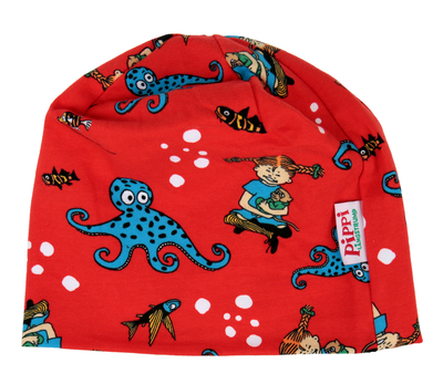 Pippi Longstocking beanie, Octopus, red, 48-50 & 52-54