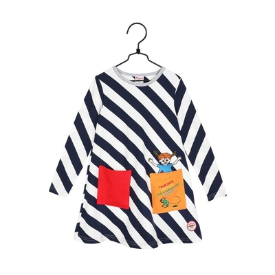Pippi Longstocking children's Diagonal Stripe dress, blue