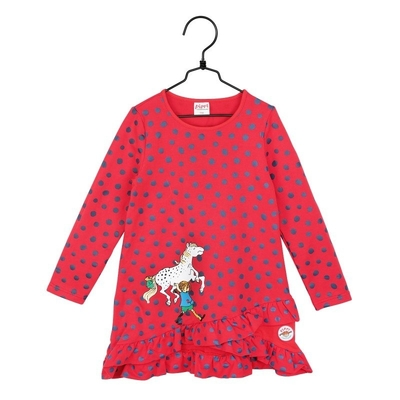 Pippi Longstocking dots children's dress, red / blue