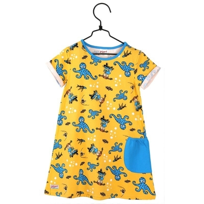 Pippi Longstocking tunic-dress Octopus 86-122cm, yellow