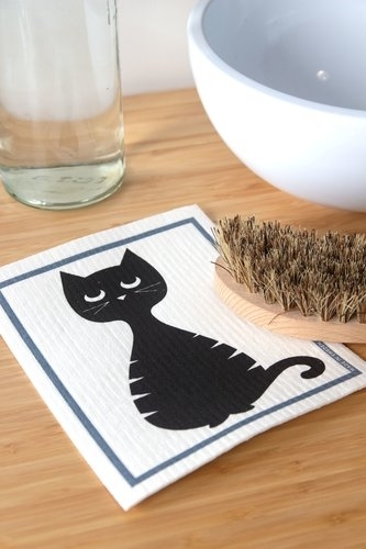 Pluto Produkter dishcloth, black cat