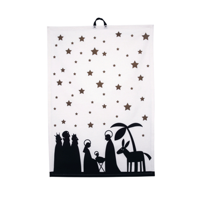 Pluto Produkter kitchen towel Christmas, black/white/gold