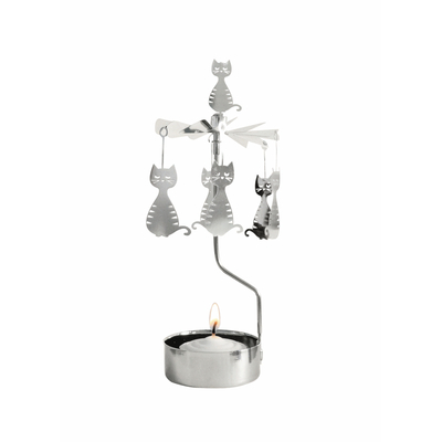 Pluto Produkter rotary candle holder, Sitting Cat, silver