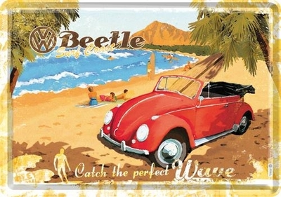 Postikortti VW Beetle Catch the perfect wave, Metallia