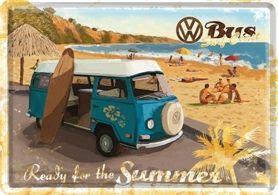 Postikortti VW Bus Ready for the summer, Metallia