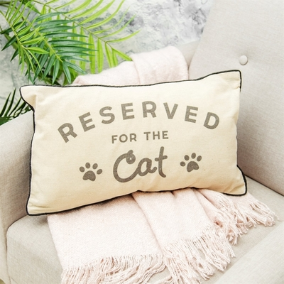 Reserved for the Cat pillow, beige