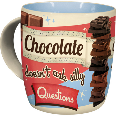 Retro mug Chocolate doesn't ask silly questions