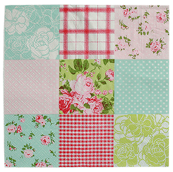 Romantic patch napkin, 33x33cm