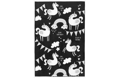 Rug with Unicorns, I believe, black/white 100x150cm