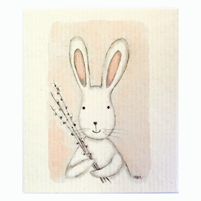 Sari's ArtWork dishcloth, Bunny and willow branches