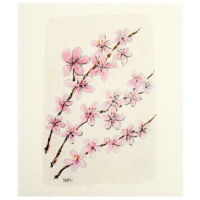 Sari's ArtWork dishcloth, Cherry blossom branches