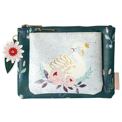 Secret garden 2-part makeup bag, Swan