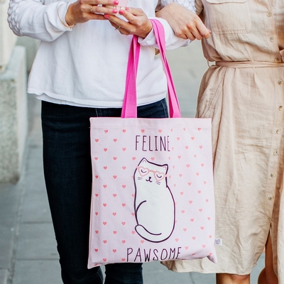 Shopper bag, Cutie Cat, light pink