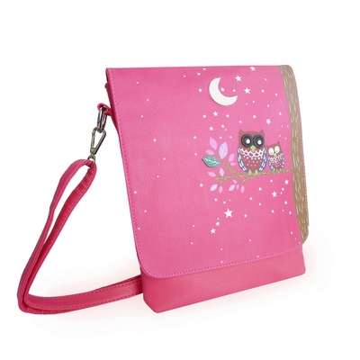 Sleeping Owls shoulder bag, fuchsia