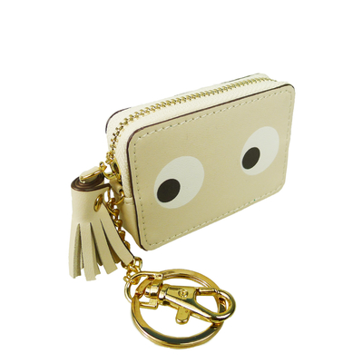 "Small ""Eyes"" purse/keychain, beige"